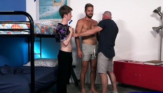 Hunk stepdad compares his stepsons cocks and fucks anal