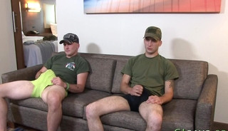 Military dude shoots cum and rides
