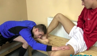 Feet sucking twinks bang ass in locker room