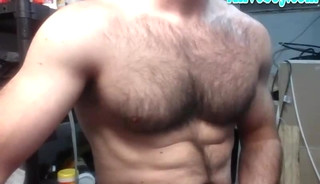hairy chest daddy stroking off his thick hard cock on cam