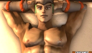 Muscular 3d dudes fucking hard in game