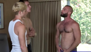 Twinks asking for allowance get put to work by stepdad
