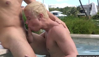 Sexy Blonde Gay Guy Blows Friend