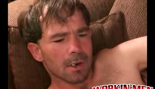 Mature guy shows off his hairy body and tugs on his big cock