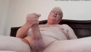 Daddy masturbates his big dick twice with close up cum